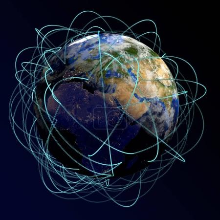 Internet Concept of global business. Main air routes in Europe, Africa, Asia. 3d render.