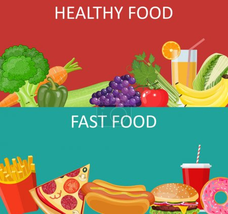 healthy food and fast food concept banner