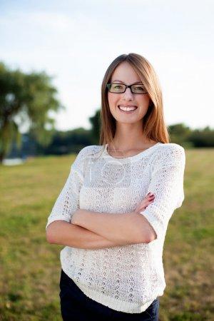 Beautiful woman smiling outdoors