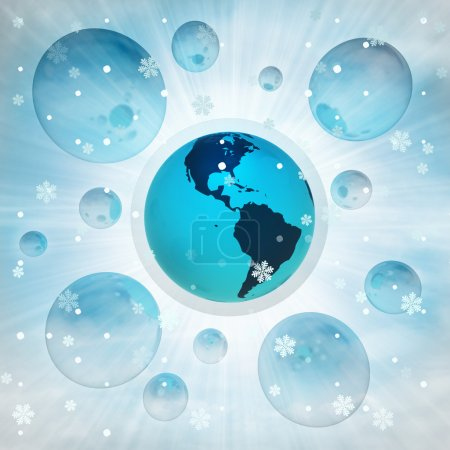 America earth globe in bubble at winter snowfall