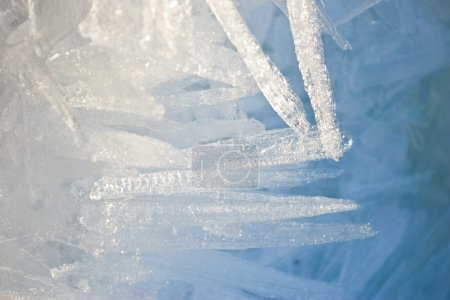 Closeup of ice crystals with very shallow