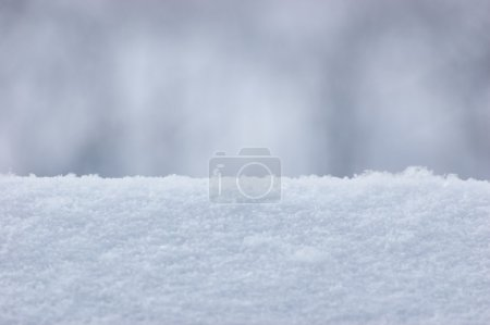 Fresh Snow Texture Background Closeup, Large Detailed Macro Pattern, Gentle Bokeh, Horizontal