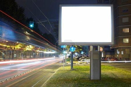Blank billboard in the city street
