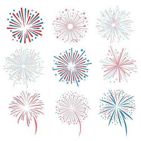vector fireworks on white