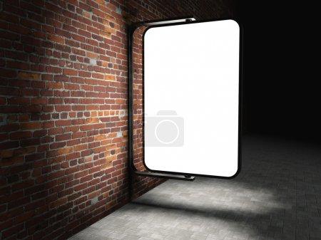 3d Blank street advertising billboard on brick wall at night